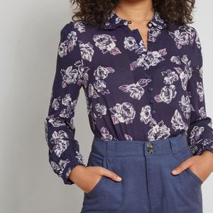 Modcloth Thoroughly Ladylike Button-Up Floral Top